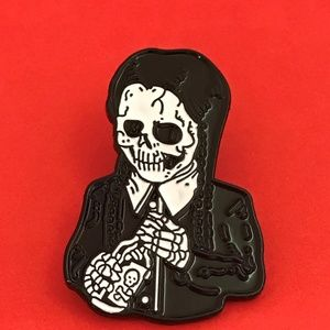 Skeleton Wednesday Addams Family Enamel Pin Brooch